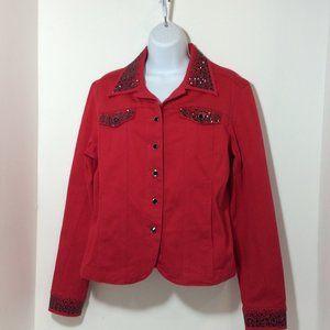 Red Denim Jacket w/ Bead Accent Sz M NWOT